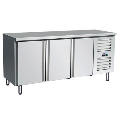 Saro Edelstahl Kühltisch | 3 Türen | 1790x700x(h)890/950mm