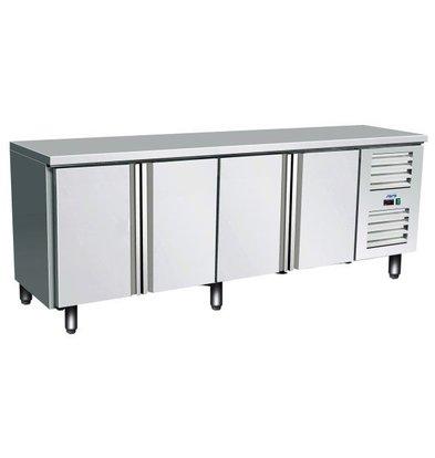 Saro Edelstahl Kühltisch | 4 Türen | 2230x700x(h)890/950mm
