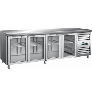 Saro Edelstahl Kühltisch mit Glastüren | 616 Liter | 2230x700x890(h)mm