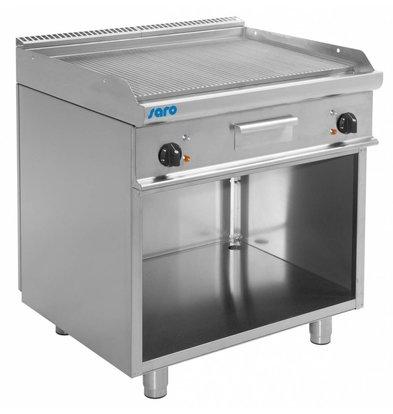 Saro Elektro-Grillplatte gerillt | Casta Unterbau | 800x700x(h)850mm | 400V-10,4kW