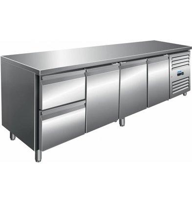 Saro Edelstahl Kühltisch | 3 Türen + 4 Schubladen | 2230x700x(h)890/950mm
