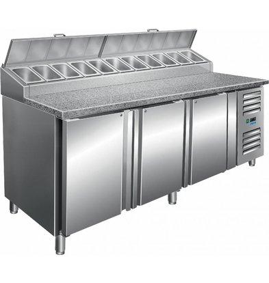 Saro Zubereitungstisch | 11x1/3 GN | 3 Türen | 2000x850x(h)1080-1140 mm