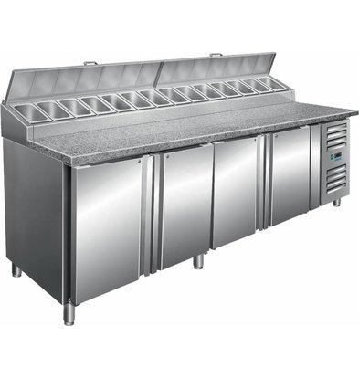 Saro Zubereitungstisch | 14x1/3 GN | 4 Türen | 2500x850x(h)1080-1140 mm