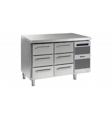 Gram Kühltisch 3 + 3 Schubladen | Gram GASTRO 07 K 1407 CSG A 3D/3D L2 | 345L | 1289x700x885/950(h)mm