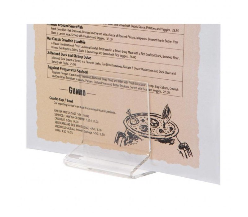 Olympia Acryl Menühalter T-Form | Geeignet für A4-Karten