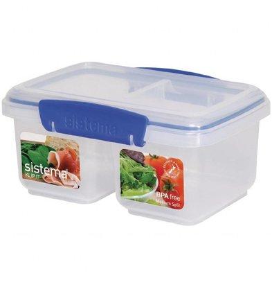 Sistema Klip It geteilte Frischhaltedose | 1 Liter | Stapelbar | 180x120x80mm
