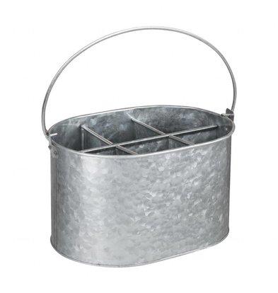 Olympia Behälter für Besteck und Gewürze | Galvanisierter Stahl | 245x175x(h)135mm
