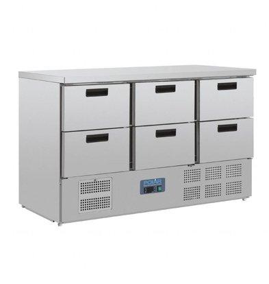 Polar Kühltisch Edelstahl | 6x 1/1GN Schubladen | 1370x700x(h)870mm