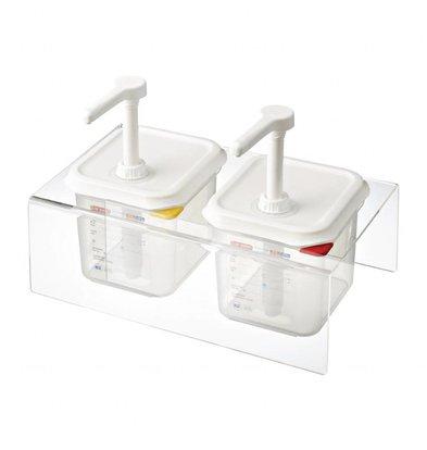 Araven Saucenspender 1/6GN Transparent | 2,6 Liter | Set 2 Stück