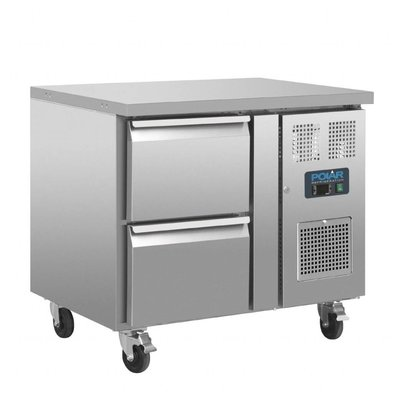 Polar Kühltisch mit Zwangskühlung | 2 Schubladen | 124 Liter | 935x700x(h)860mm