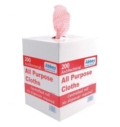 Jantex Antibakterielle Mehrzwecktücher | Rot | 200 Stück