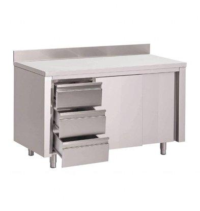Gastro M Gastro M Arbeitstisch Edelstahl | 3 Schubladen + Aufkantung | Schiebetüren | Erhältlich in 6 Größen