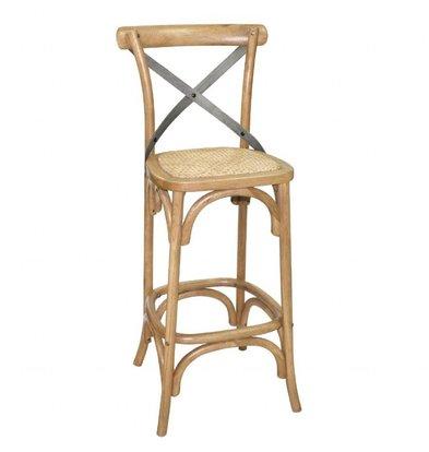 Bolero Barhocker | Rückenlehne | Sitzhöhe: 75cm | Kunstleder und Birkenholz | Schwarz