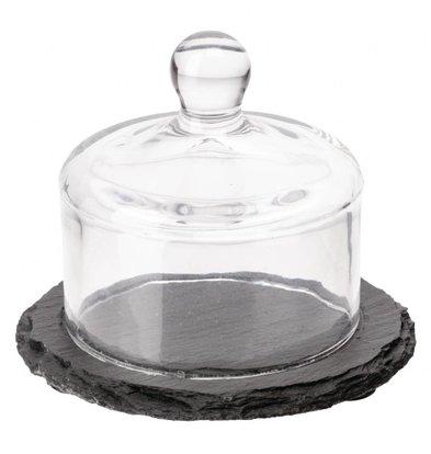 XXLselect Schieferplatte mit Glasglocke | 8 x 10,5(Ø)cm | Schiefer und Glas