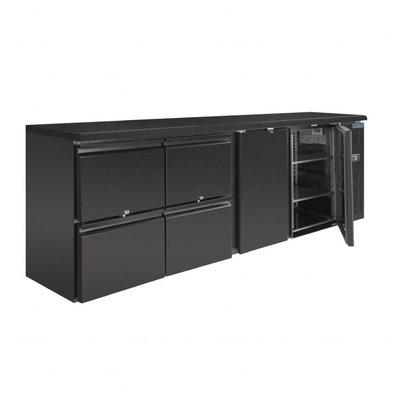 Polar Barkühlung | 698 Liter | 2 Türen & 4 Schubladen | Schwarz