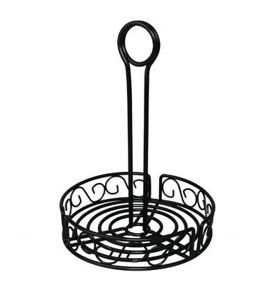 Olympia Runder Gewürzbehälter | 23,5 x 19,5(Ø)cm | Stahl | Schwarz