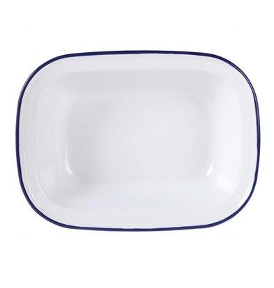 Olympia Rechteckige Speiseschale | Weiß mit Blauem Rand | Erhältlich in 2 Größen