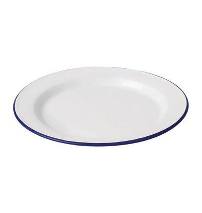 Olympia Essteller | 6 Stück | 24,5(Ø)cm | Weiß mit Blauem Rand