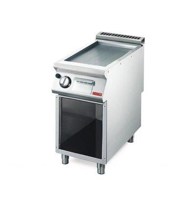 Gastro M Gas-Grillplatte mit Unterbau | 6kW | 40 x 70cm | gerillt | 700-Serie
