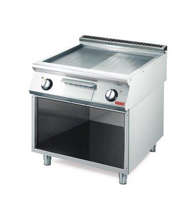 Gastro M Elektro Grillplatte mit Unterbau   10,8kW/400V   80 x 70cm   gerillt/glatt   700-Serie