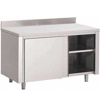 Gastro M Arbeitstisch mit Regal und Schiebetüren | Aufkantung | Edelstahl | Erhältlich in 7 Größen