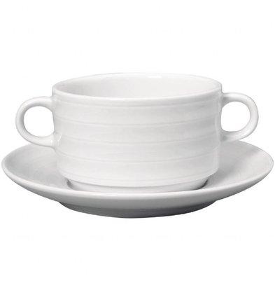 Intenzzo Suppentassen mit Untertassen | 4 Sets | 33cl | Porzellan | Weiß