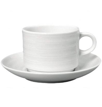 Intenzzo Stapelbare Teetassen mit Untertassen | 4 Sets | 26cl | Porzellan | Weiß