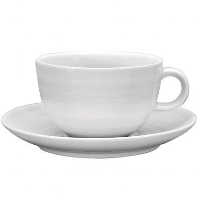 Intenzzo Cappuccinotassen mit Untertassen | 36cl | 4 Sets | Porzellan | Weiß