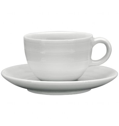 Intenzzo Espressotassen mit Untertassen | 4 Sets | 11cl | Porzellan | Weiß