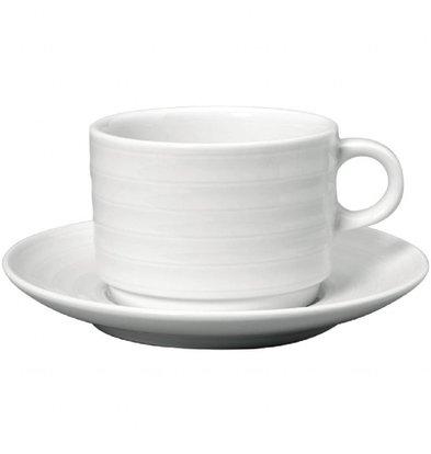 Intenzzo Stapelbare Frühstückstassen mit Untertassen | 4 Sets | 32cl | Porzellan | Weiß
