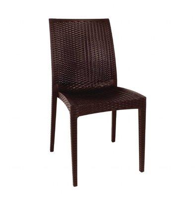 Bolero Rattanstühle mit Armlehne | 4 Stück | Sitzhöhe: 44cm | Polypropylen | Braun