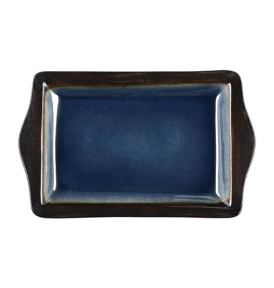 Olympia Rechteckige Tapasschalen   6 Stück   28,3 x 17,8cm   Steinzeug   Blau-Schwarz