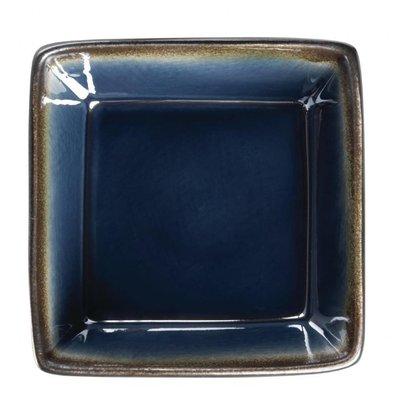Olympia Rechteckige Tapasschalen | 6 Stück | 11 x 11cm | Steinzeug | Blau-Schwarz