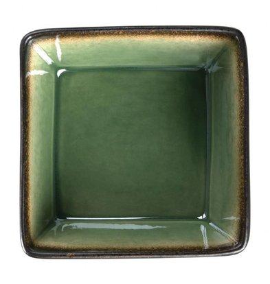 Olympia Viereckige Tapasschalen | 6 Stück | 5 x 11 x 11cm | Steinzeug | Grün-Schwarz