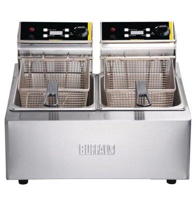 Buffalo Doppelfritteuse mit Timer | 2 x 2,8kW/230V | 2 x 5 Liter