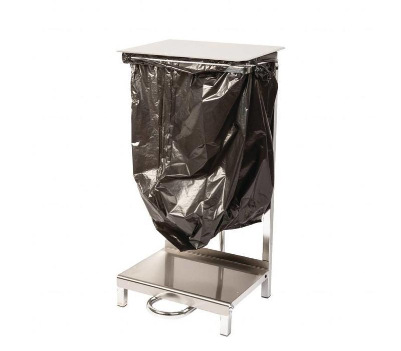 Jantex Abfallsackhalter | Pedalbedienung | Edelstahl und verchromter Stahl