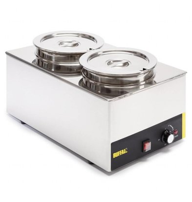 Buffalo Bain-Marie mit runden Behältern | 1,3kW/230V | 2 x 5,2L