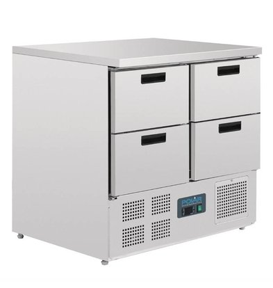 Polar Kühltisch   4 Schubladen   240 Liter   Edelstahl