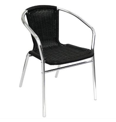 Bolero Bistrostühle mit Armlehne | 4 Stück | Sitzhöhe: 45cm | Aluminium/Rattan | Schwarz