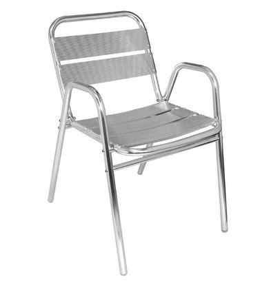 Bolero Bistrostühle mit Unterarmlehne | 4 Stück | Sitzhöhe: 45cm | Aluminium