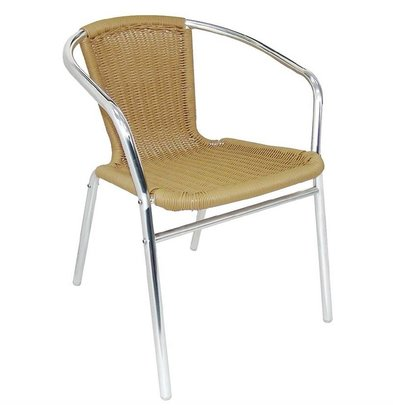 Bolero Bistrostühle mit Armlehne | 4 Stück | Sitzhöhe: 45cm | Aluminium/Rattan | Naturell