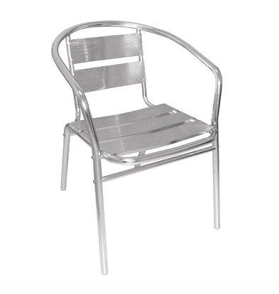 Bolero Bistrostühle gerundeter Armlehne | 4 Stück | Sitzhöhe: 45cm | Aluminium
