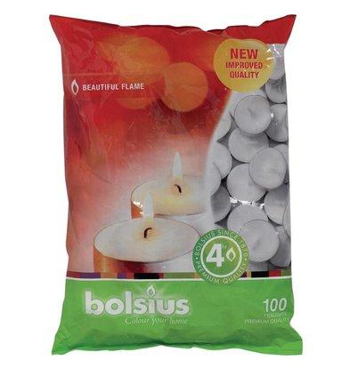 Bolsius Teelichter | 100 Stück | Brennzeit: 4 Stunden