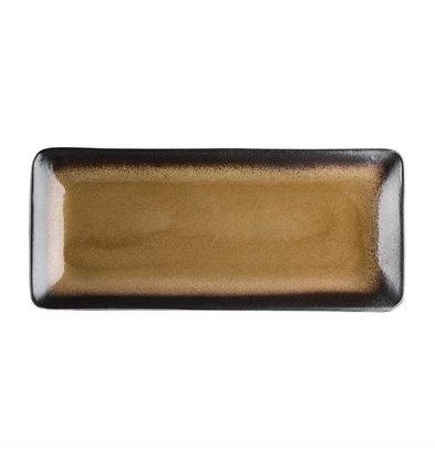 Olympia Rechteckige Tapasteller | 6 Stück | Steinzeug | Gelb-Schwarz | Erhältlich in 2 Größen