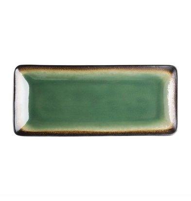Olympia Rechteckige Tapasteller | 6 Stück | Steinzeug | Grün-Schwarz | Erhältlich in 2 Größen