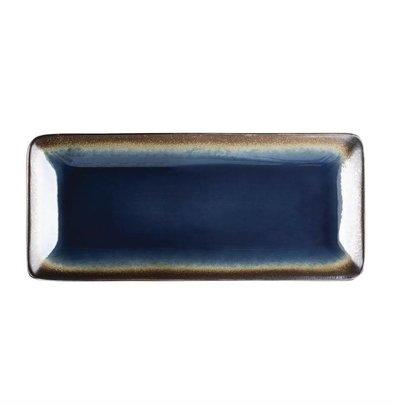 Olympia Rechteckige Tapasteller | 6 Stück | 24,5 x 11cm | Steinzeug | Blau-Schwarz