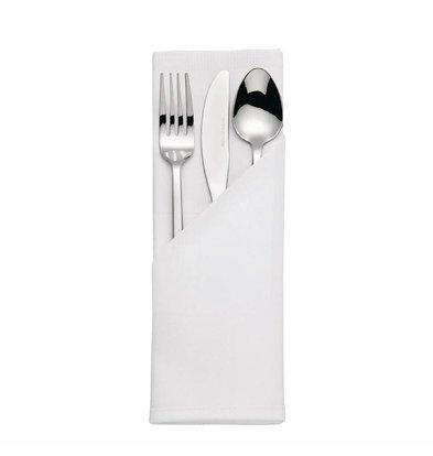 Mitre Luxury Luxury Satin Band Servietten | 10 Stücke | 55 x 55cm | Baumwolle | Weiß