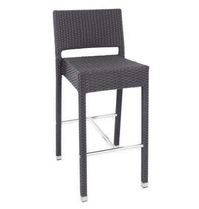 Bolero Rattanbarstühle | 4 Stück | Sitzhöhe: 76,6cm | Aluminium und PE | Grau