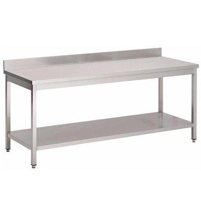 Gastro M Arbeitstisch mit Grundboden und Aufkantung | Edelstahl | Tiefe 70cm | Erhältlich in 8 Größen