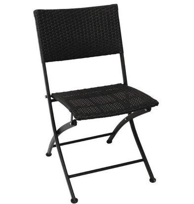 Bolero Klappbare Rattanstühle | 2 Stück | Sitzhöhe: 46cm | Schwarz